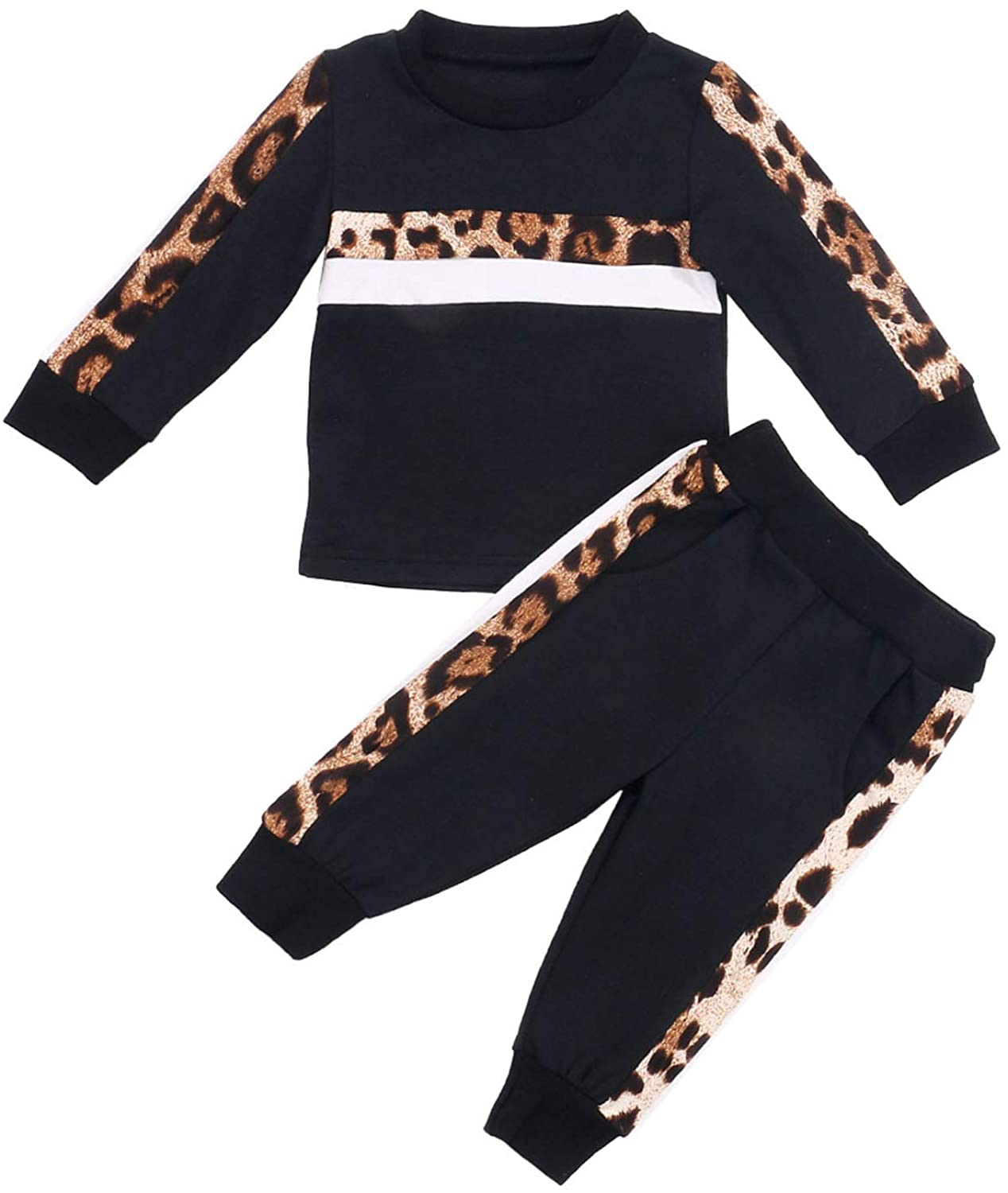 Kid Baby Girl Leopard Print Clothes Set Solid Color Long Sleeve Pullover Top Elastic Waist Pants 2Pcs Fall Winter Outfit