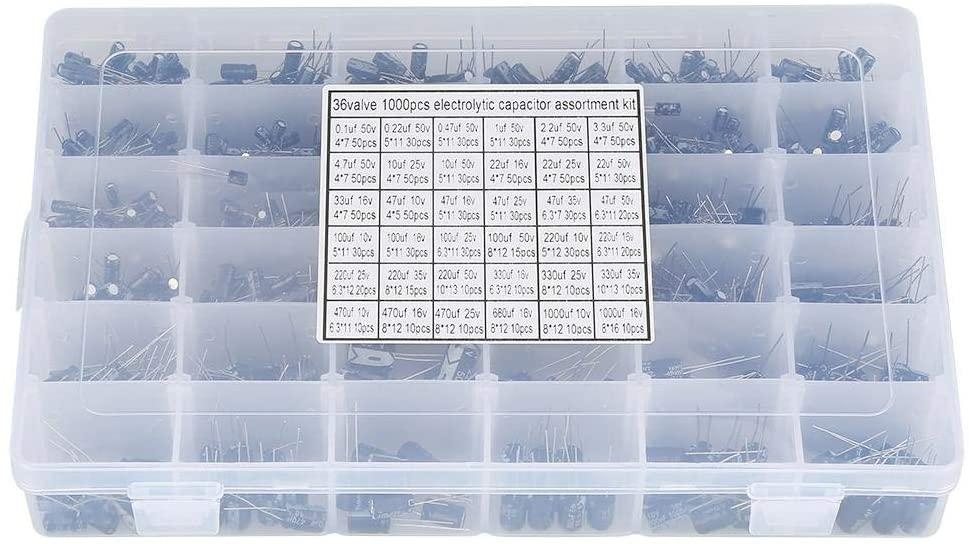 Akozon Electrolytic Capacitor Assortment Kit Box 990pcs 36 Values 10V~50V 0.1uF to 1000uF DIY High Grade Audio Capacitor Assorted Kit