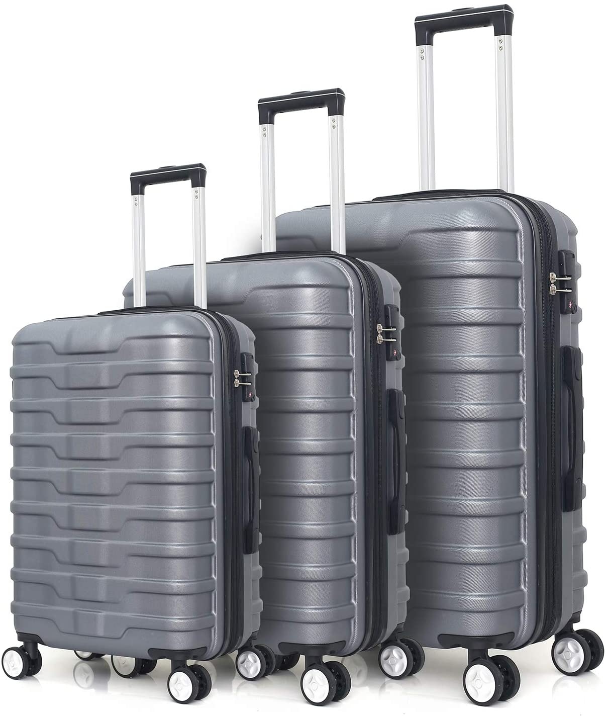 Luggage 3 Piece Set, Rockjame Expandable Hardside Durable ABS Lightweight Spinner Hardshell Suitcase with TSA Accepted Lock (Sliver)