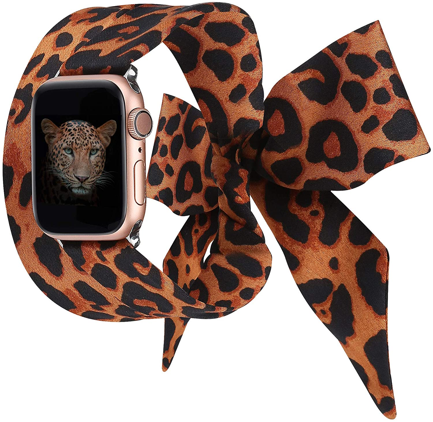 Wearlizer Compatible with Apple Watch Scarf Bands 38mm 40mm for iWatch Band Women Girls Fashion Scarf Replacement Wrist Strap for Apple Watch SE Series 6 5 4 3 2 1 - Orange Leopard