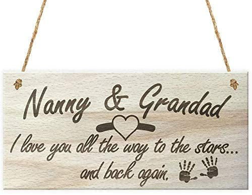 INNAPER Nanny and Grandad Wood Hanging Signs Plaque for Grandparents Gifts Craft Art for Home Wall Decor 12x6(BW875)