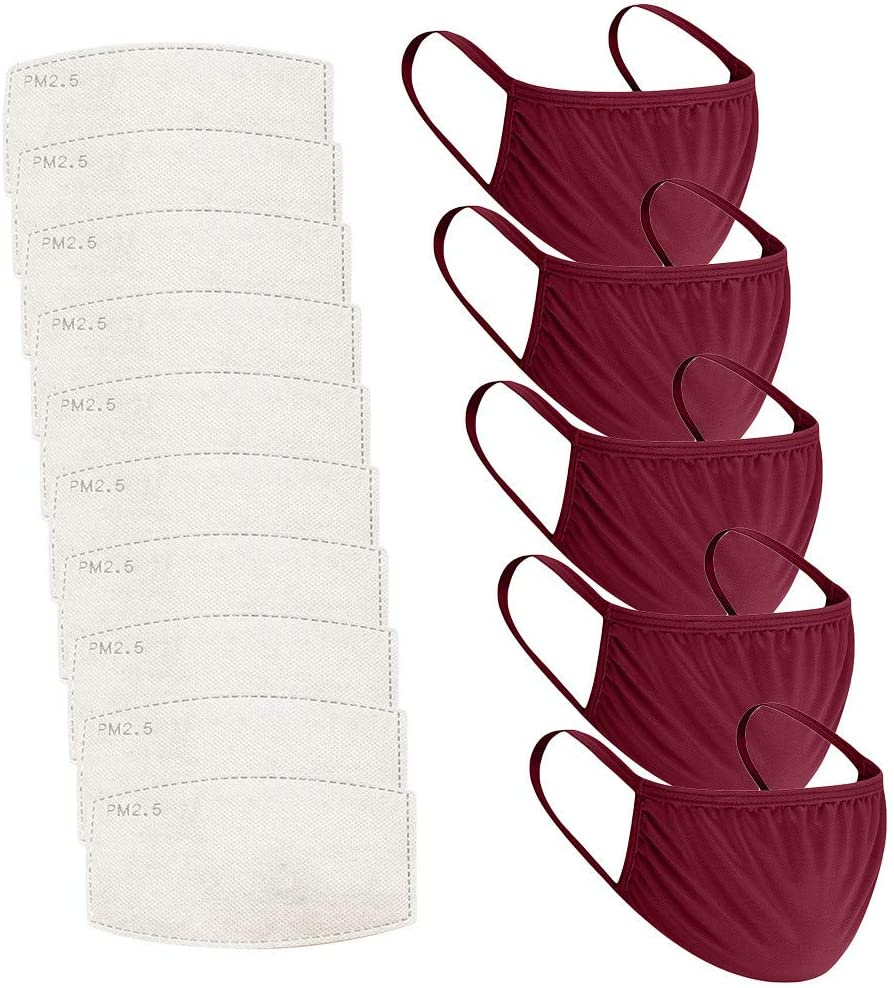5pcs+10pcs Filter Children's Solid Color Breathable Washable Reusable Protection (E)
