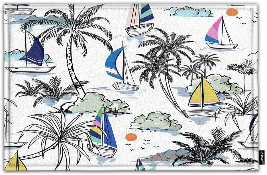 HOSNYE Beach and Ocean Non Slip Door Mat Landscape with Palm Trees Colorful Beautiful Boat and Windsurf Home Bathroom Bath Shower Bedroom Mat Toilet Floor Door Mat