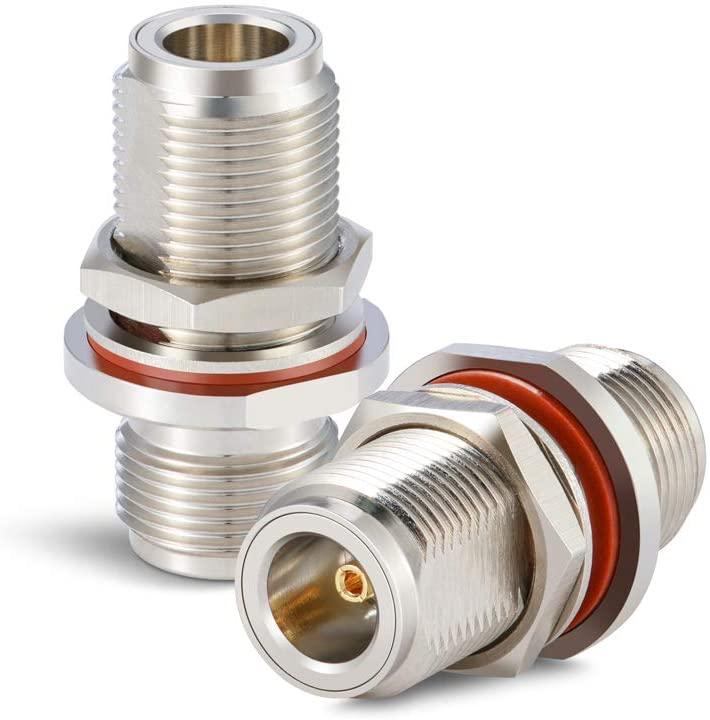XRDS-RF 2pcs N Female to N Female Bulkhead Connector Coax Bulkhead Connector
