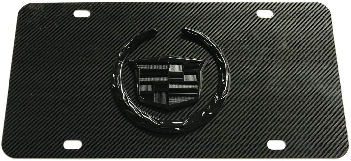 Yokiio Carbon Fiber 3D Emblem Stainless Steel Metal License Plate Tag Frame Holder Cover Caps Screws for Cadillac (Black Logo)