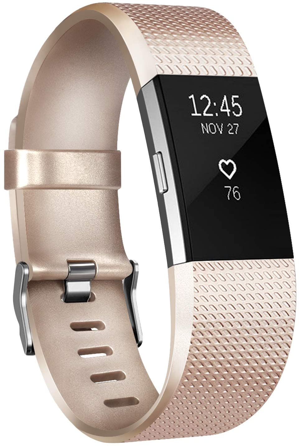 IEOVIEE Silicone Band Compatible with Fitbit Charge 2 Bands, Classic & Special Edition Soft Replacement Bands for Women Men Small Large (Small.Champagne)