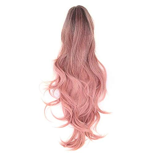Long Wavy Wig,Pink Middle Part Curly Full Hair Synthetic Cosplay Costume Wigs for Daily life/Halloween