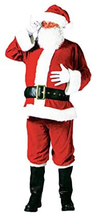 Deluxe Santa Claus Costume Set. Hat with Wig, Beard, Suit, Gloves, Belt, Pants, Boots Cover. Set of 7.