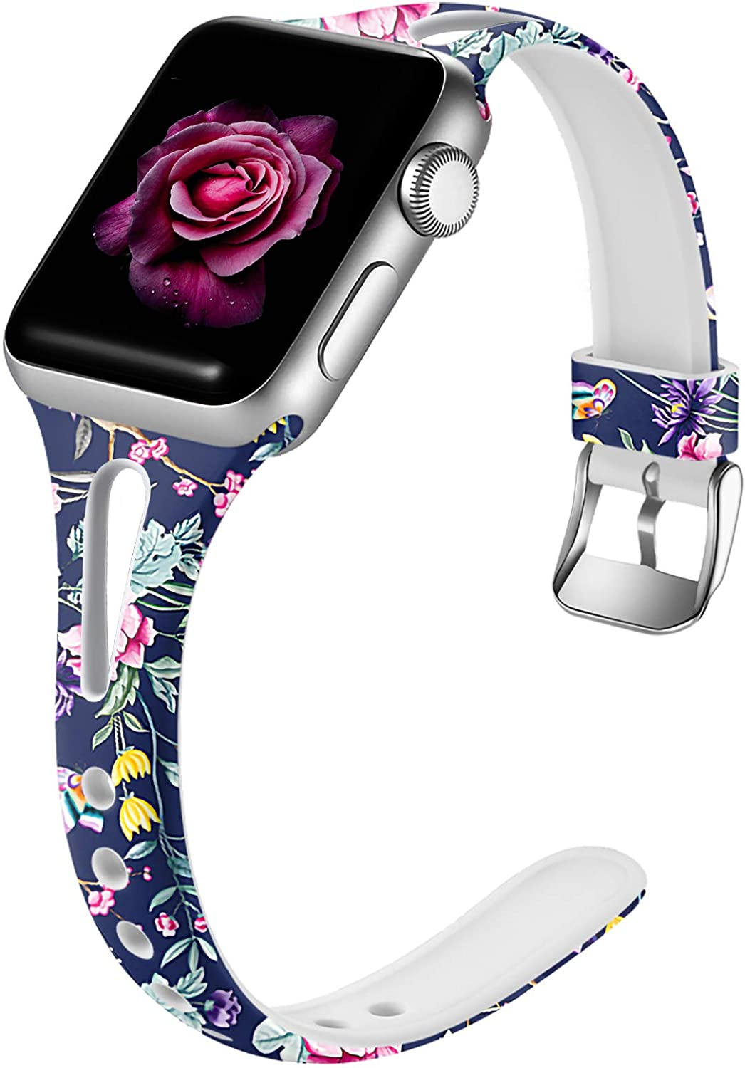 Easuny Floral Bands Compatible for Apple Watch Series 6 40mm Series 5 4 for Women, Soft Cute Slim for Apple Watch SE 38mm Bands,Series 3 2/1, iWatch Printed Silicone Thin Wristband S/M, Peony