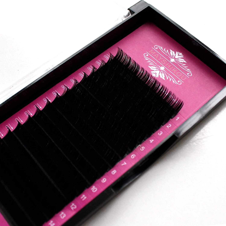 False Eyelashes 16 Rows/Tray Individual lashes Fake Eyelash Extension Natural Faux Mink Hair Curl B/C/D/J Thinkness 0.10/0.12/0.15mm Lenght 8/9/10/11/12/13/14/15mm (Crul B 0.15mm, 10mm)