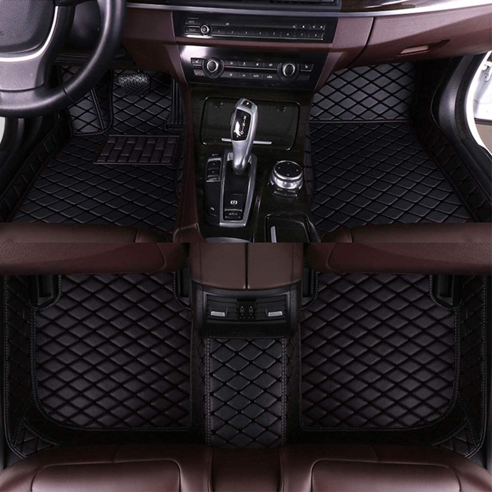 8X-SPEED Custom Car Floor Mats for Infiniti QX80 6-Seats 2013-2017 Full Coverage All Weather Protection Waterproof Non-Slip Leather Liner Set Black
