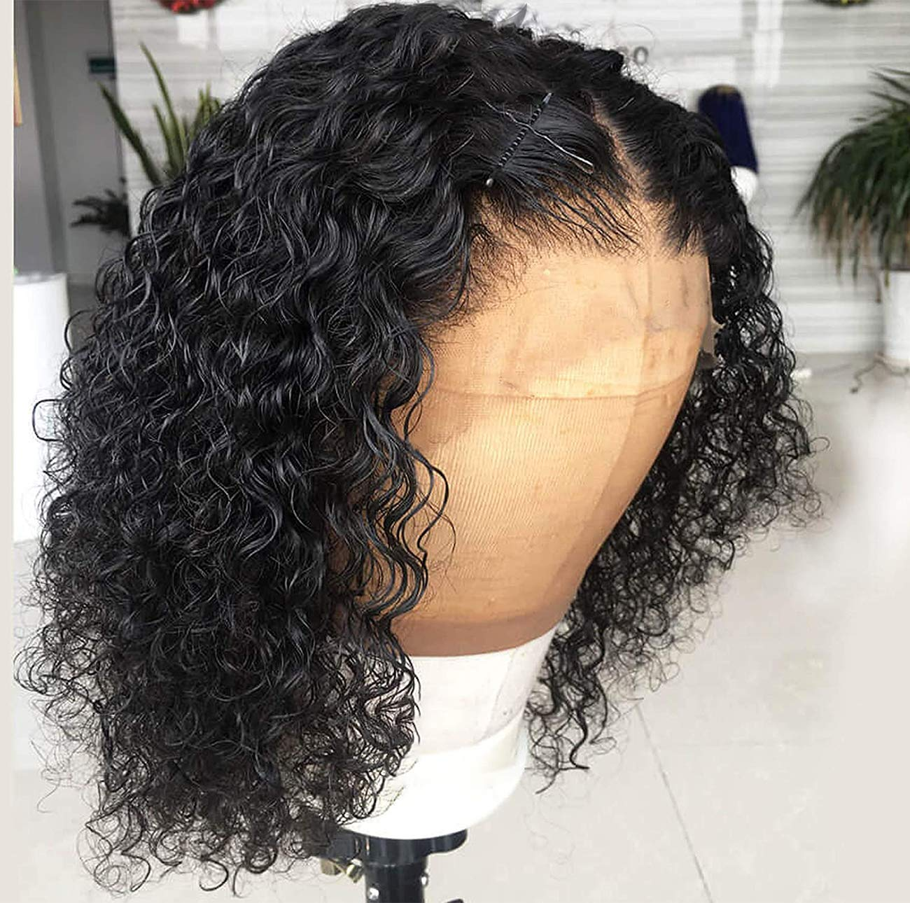 13x4 Deep Wave Lace Front Wigs with Baby Hair Pre Plucked Human Hair Wigs for Black Women Bob Curly Wig 12 Inch