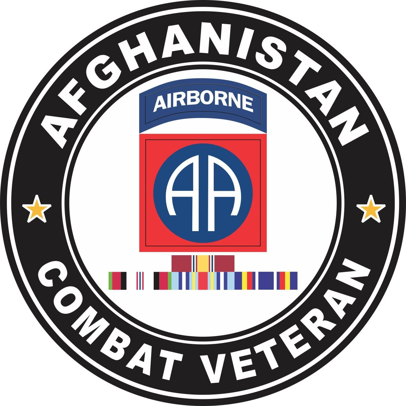 Military Vet Shop US Army 82nd Airborne Afghanistan Campaign Ribbons Window Bumper Sticker Decal 3.8
