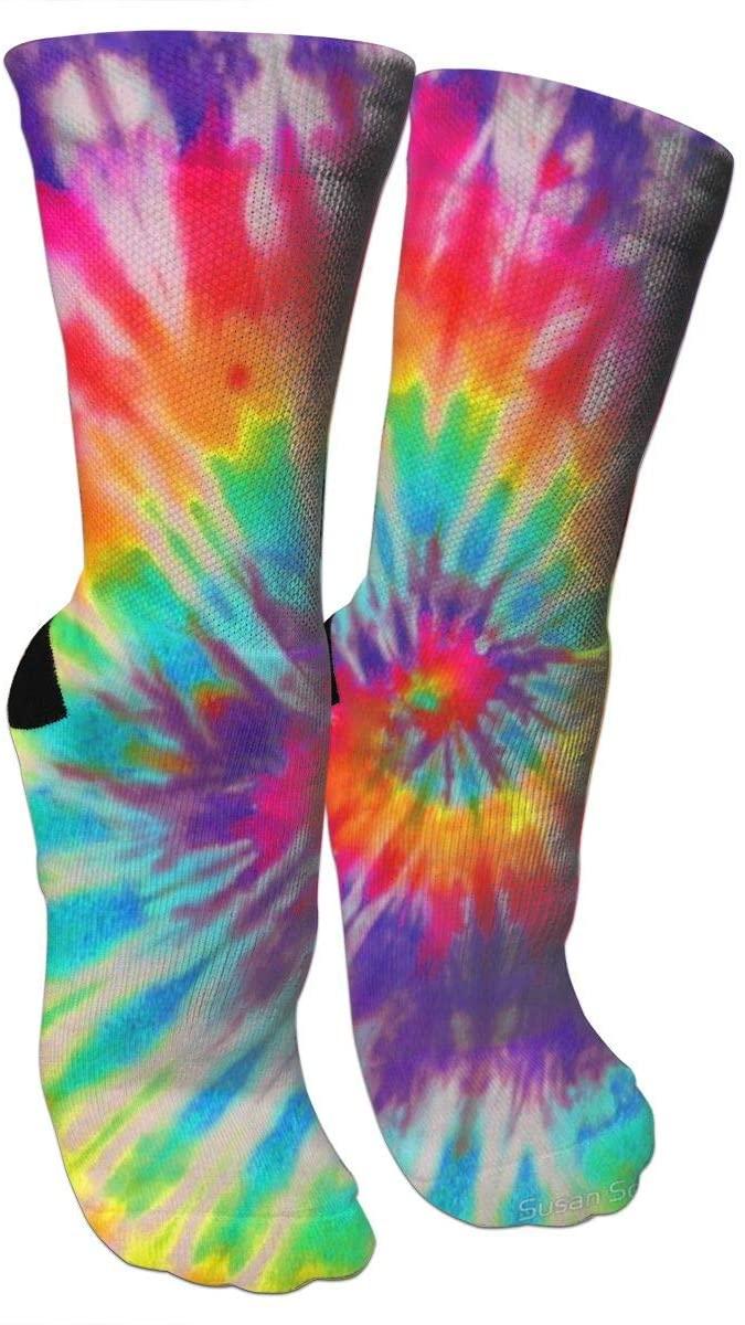 antspuent Neon Tie Dye Compression Socks Unisex Fun Novelty Crazy Dress Crew Socks