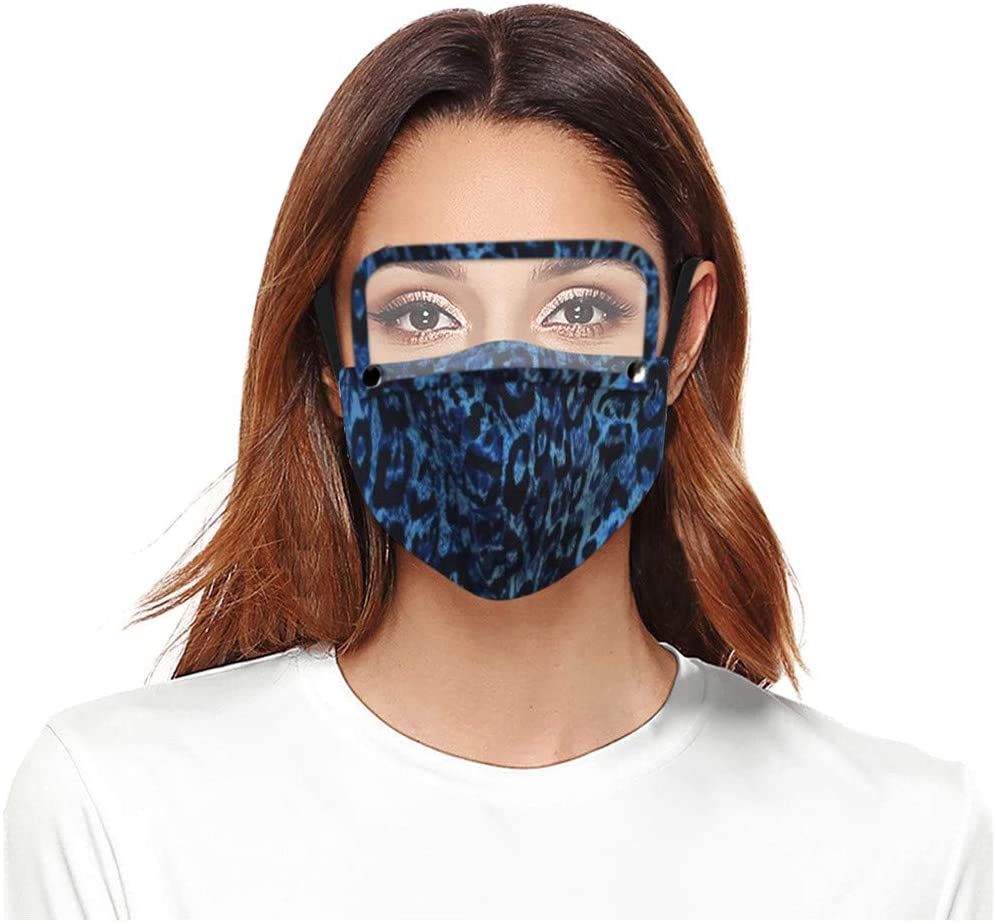 OMGYST US Stock 7 Days Arrived 3PC Adult_Face_Mask_Reusable Leopard Print Face Protection with Detachable Eyes Shield for Students Back to School Windproof