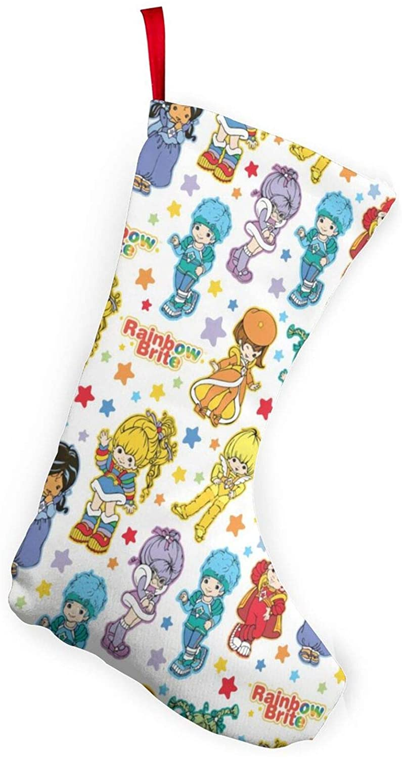 Classic Rainbow Brite and Friendsern Christmas Stockings, Ches Burlap Cotton Qui Lted Thick Luxury Stockings, for Family Holiday Xmas Party Decorations