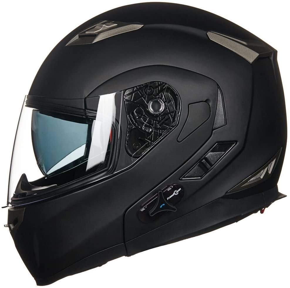 ILM Bluetooth Integrated Modular Flip up Full Face Motorcycle Helmet Sun Shield Mp3 Intercom (M, Matte Black)
