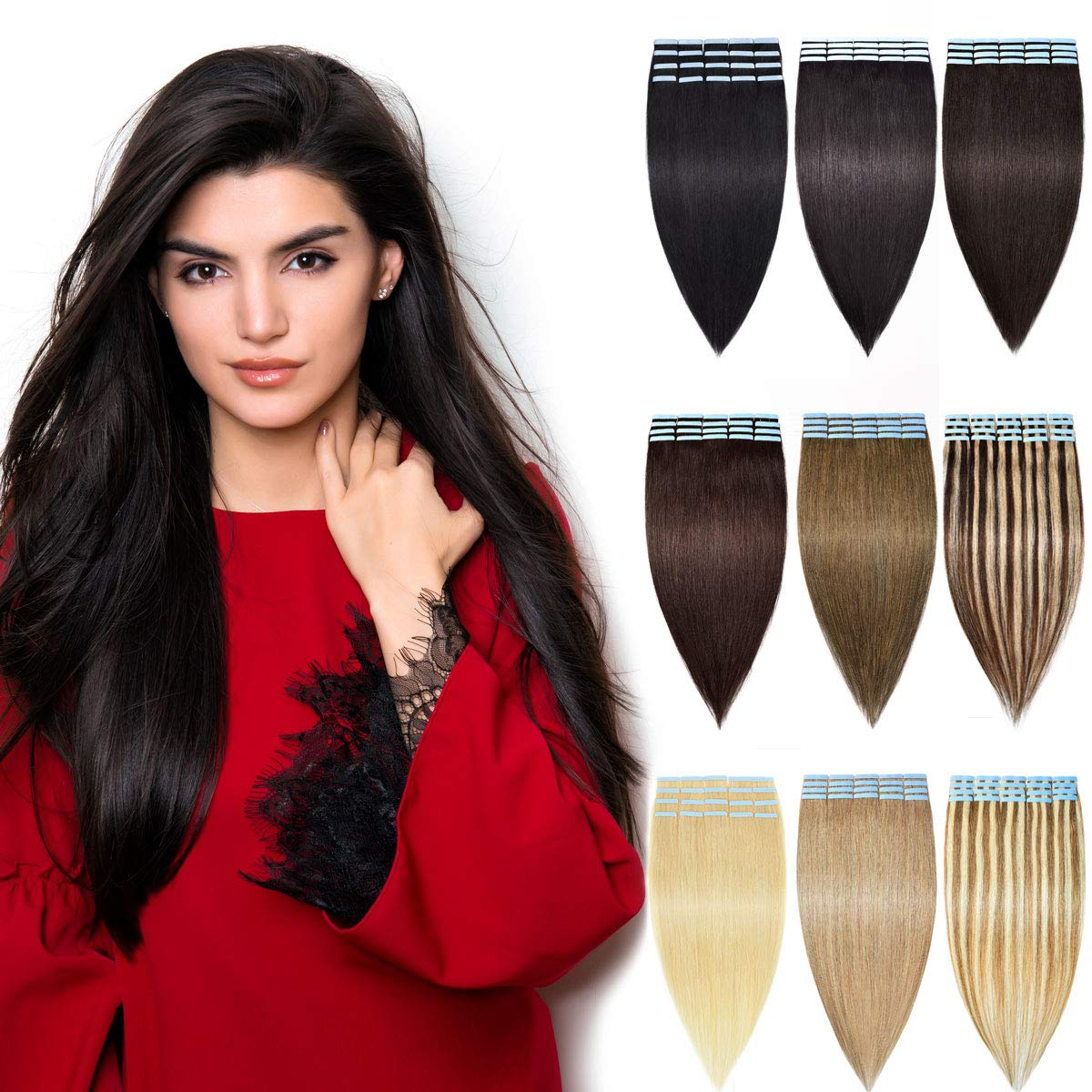 DILUSILK Tape in Hair Extensions Human Hair 100% Remy Hair 20pcs 50g Seamless Skin Weft 22 inch #1 Jet Black