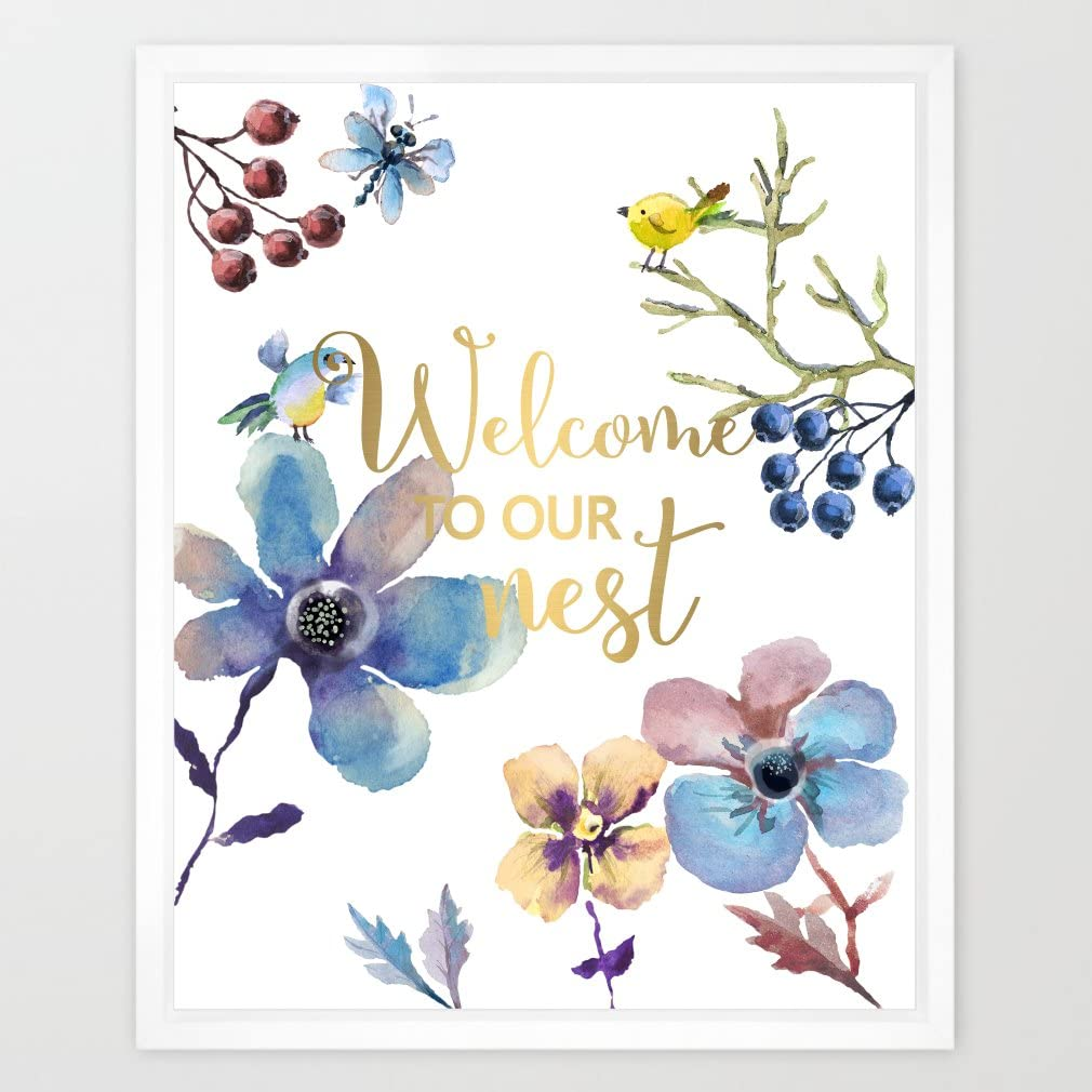 Eleville 8X10 Welcome to our nest Real Gold Foil and Floral Watercolor Art Print (Unframed) Family Room Quote art Welcome print Guest room Decor Home wall art New housewarming gift WG032