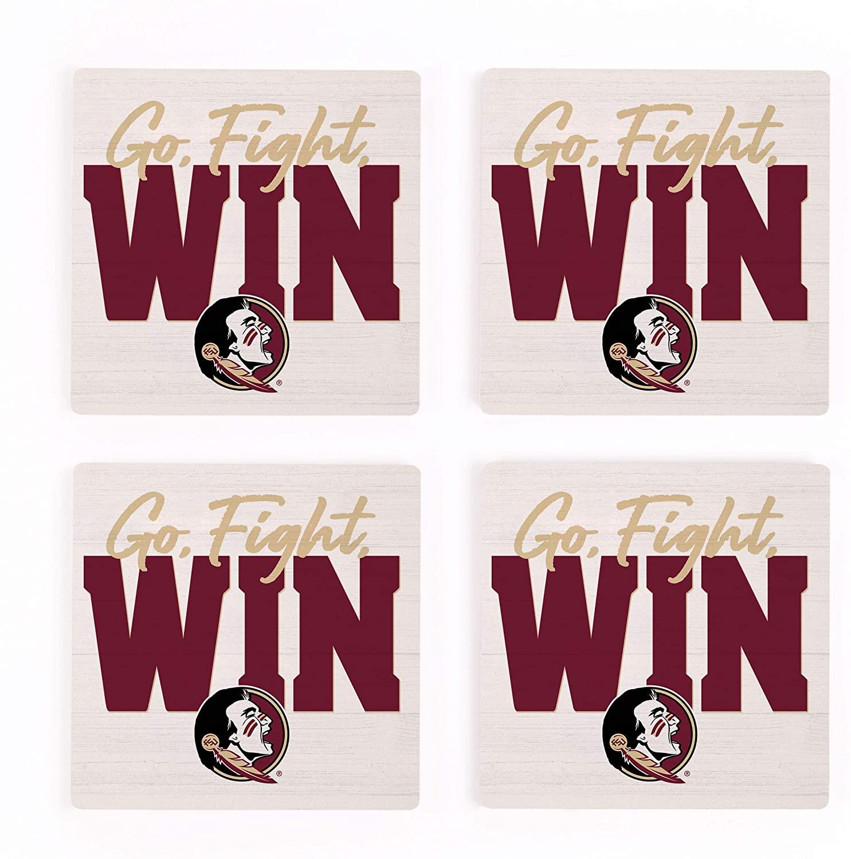 Go Fight Win Florida State University Seminoles NCAA Logo 4 x 4 Absorbent Ceramic Coasters Pack of 4