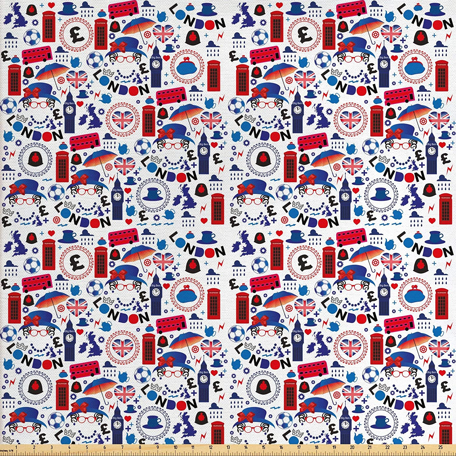 Ambesonne London Fabric by The Yard, Pattern with London Queen Elizabeth Umbrella Tea Party Map Travel Theme, Decorative Fabric for Upholstery and Home Accents, 3 Yards, Ruby Blue