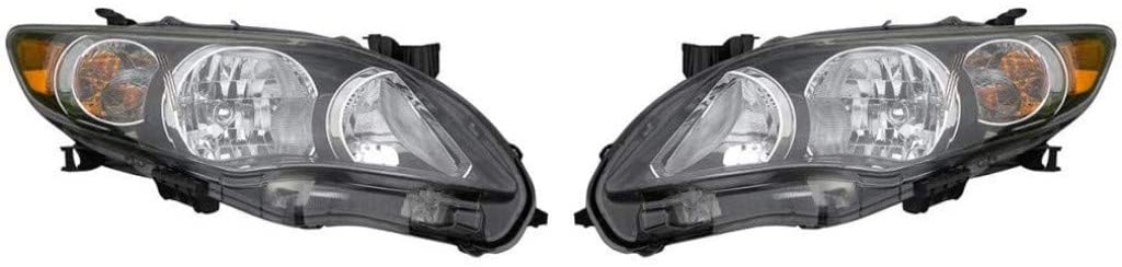CarLights360: For 2011 2012 2013 Toyota Corolla Headlight Assembly Driver and Passenger Side DOT Certified Black w/Bulbs - Replaces TO2502204 TO2503204