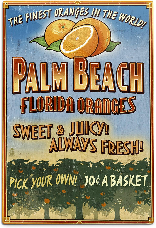 Lantern Press Palm Beach, Florida - Orange Grove Vintage Sign 44349 (6x9 Aluminum Wall Sign, Wall Decor Ready to Hang)