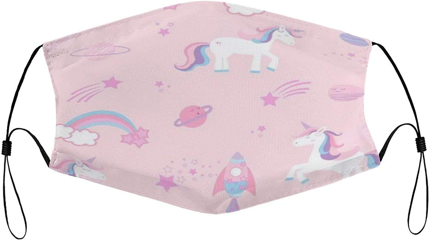 Face Mask Pink Cartoon Unicorn Anti-dust Reusable Washable Unisex Mouth Cover with Breathable and Stretchy Cloth Facial Scarf for Kids with Ear Loops