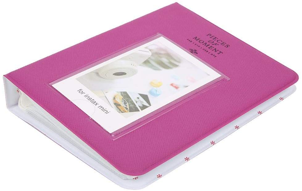 Bewinner 64 Photo Picture Album, PVC Photo Album Slip in Case Memo Photograph 3 Inch Pictures for Instax Mini 9/8/ 8+ Pockets Hold Album Gift for Mother Father Kid(Grape Violet)