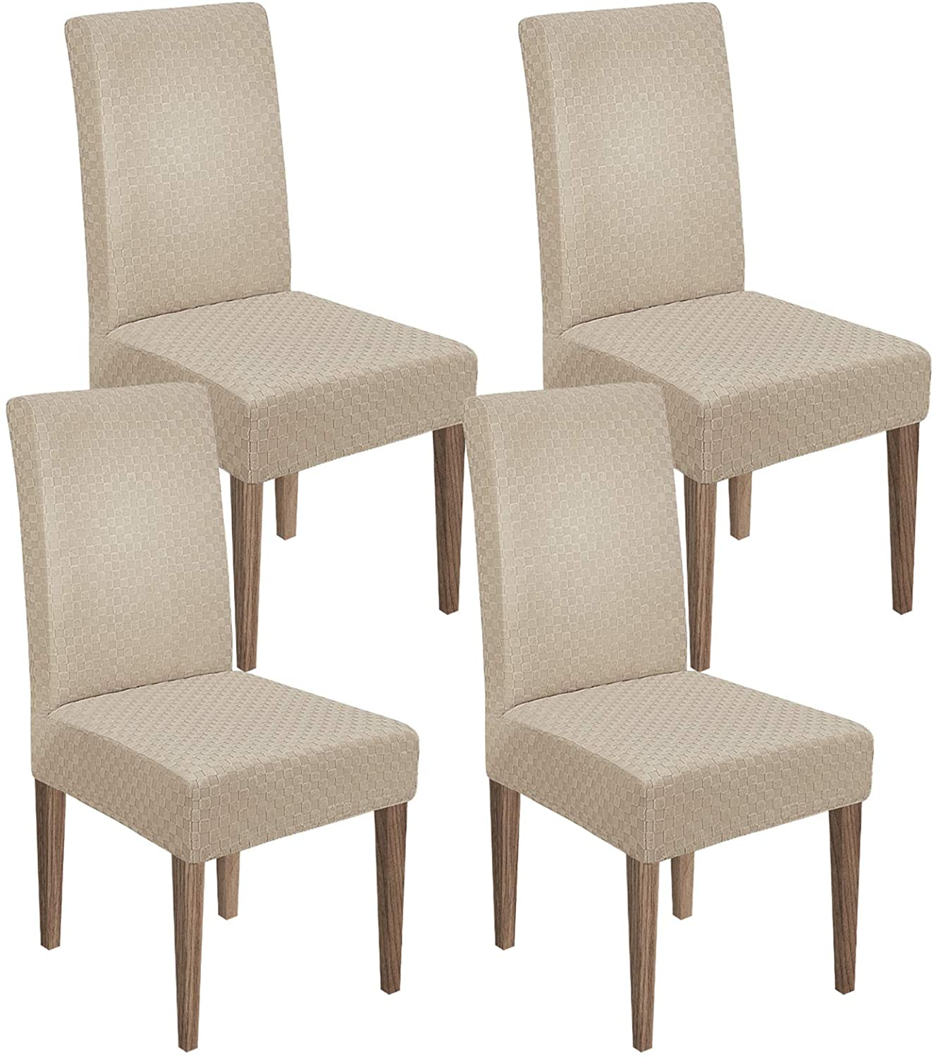 MAXIJIN Newest Jacquard Dining Room Chair Cover 1-Piece Stretch Dining Parsons Chair Slipcover Removable Chair Furniture Protector Covers for Dining Room,Hotel,Kitchen,Ceremony (4, Khaki)