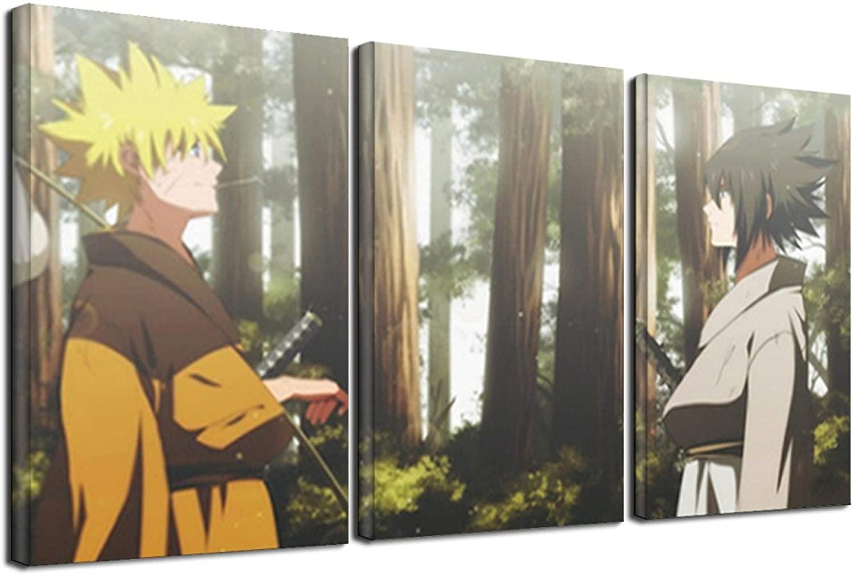 LIJINGYU Anime Naruto and Sasuke Cartoon Characters Picture Anime Poster Artwork Canvas Paintings Wall Art Home Decor 3pcs 50x70cm(20x28inch) Frameless