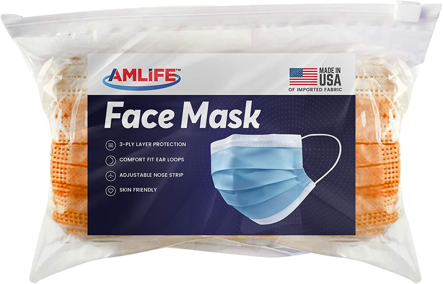AMLIFE Face Masks [50 Pieces Pack] Disposable Protective 3-Ply Filter - Made in USA with Imported Fabric - Convenient Zipper Bag - Orange
