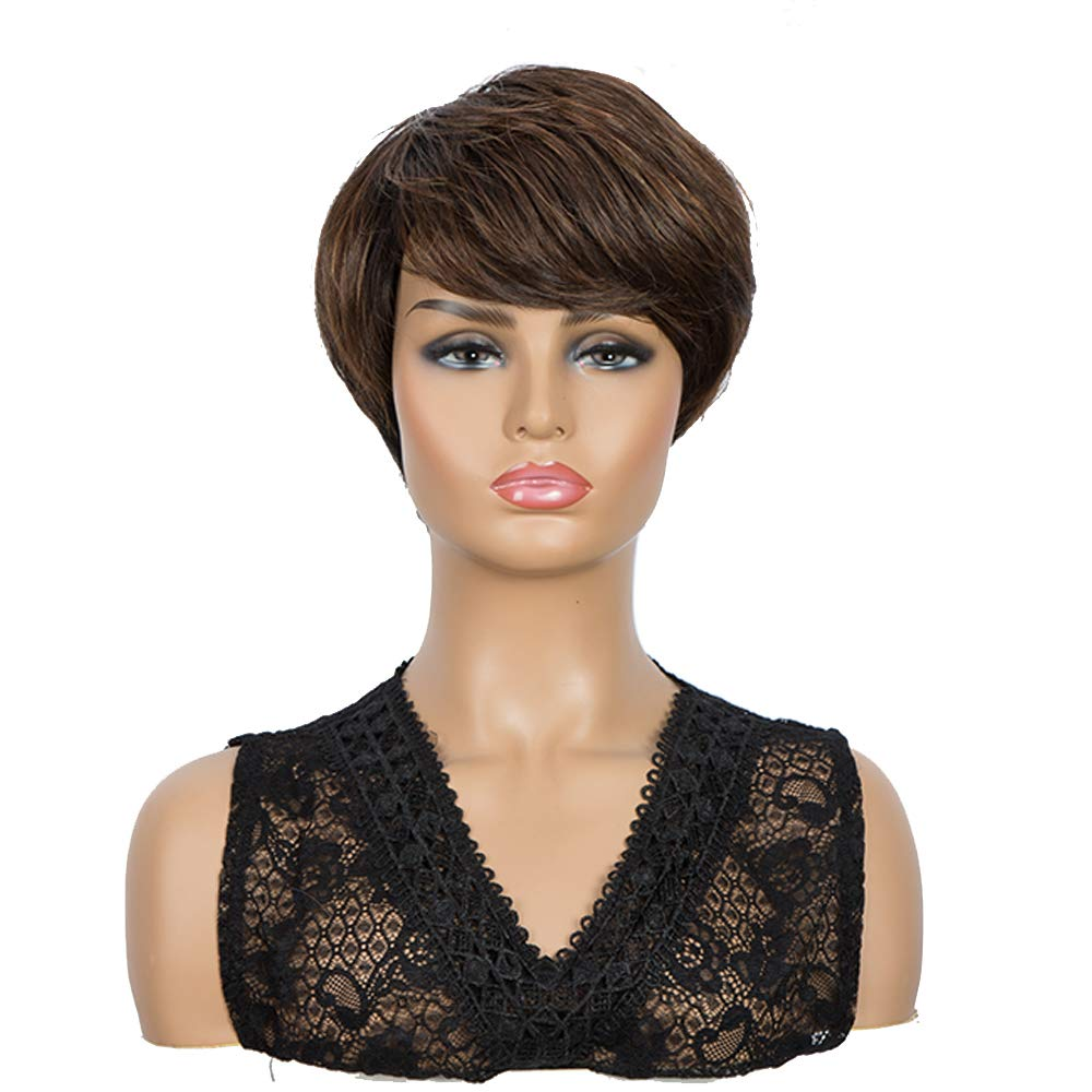 NOBLE Colorful Short Wig for Woman and Man|Heat Resistant Synthetic Wig Non Lace Wigs with Bangs|Mixed Brown Color Cool Wigs for Cosplay