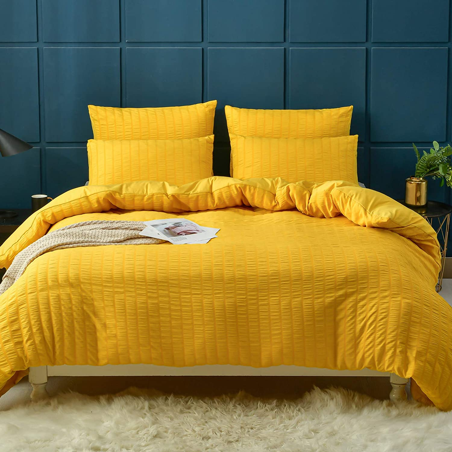 Thallo Seersucker Duvet Cover, 100% Washed Microfiber 3 Piece Duvet Cover Set, Textured Bedding Comforter Cover Sets with Zipper Closure(Yellow King)