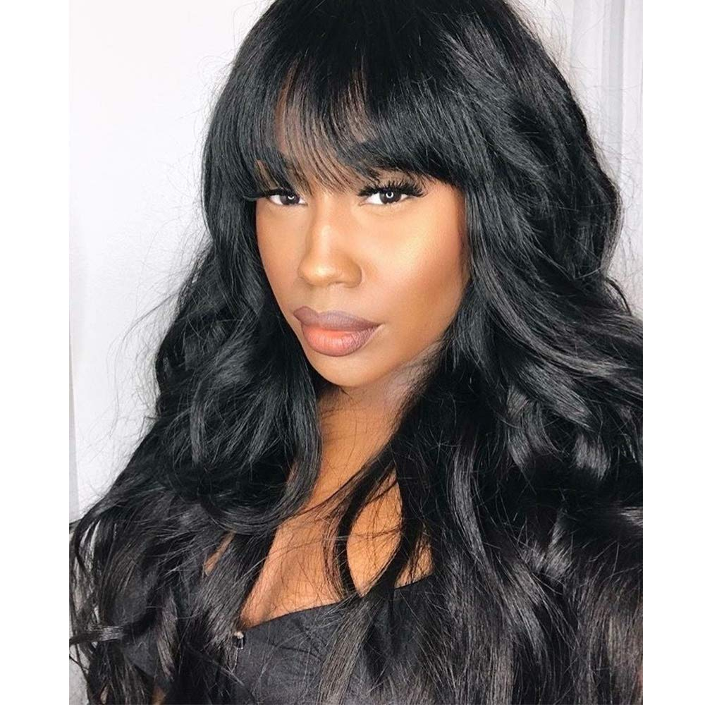 Body wave Human Hair Wigs with Bangs for Black Women Machine Made None Lace Front Wigs Brazilian Unprocessed Virgin Hair Wigs 150% Density (22 inch)