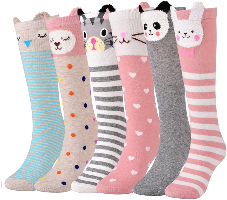 Flanhiri Kids Toddler Girls Knee High Socks Cartoon Animal Warm Cotton Stockings