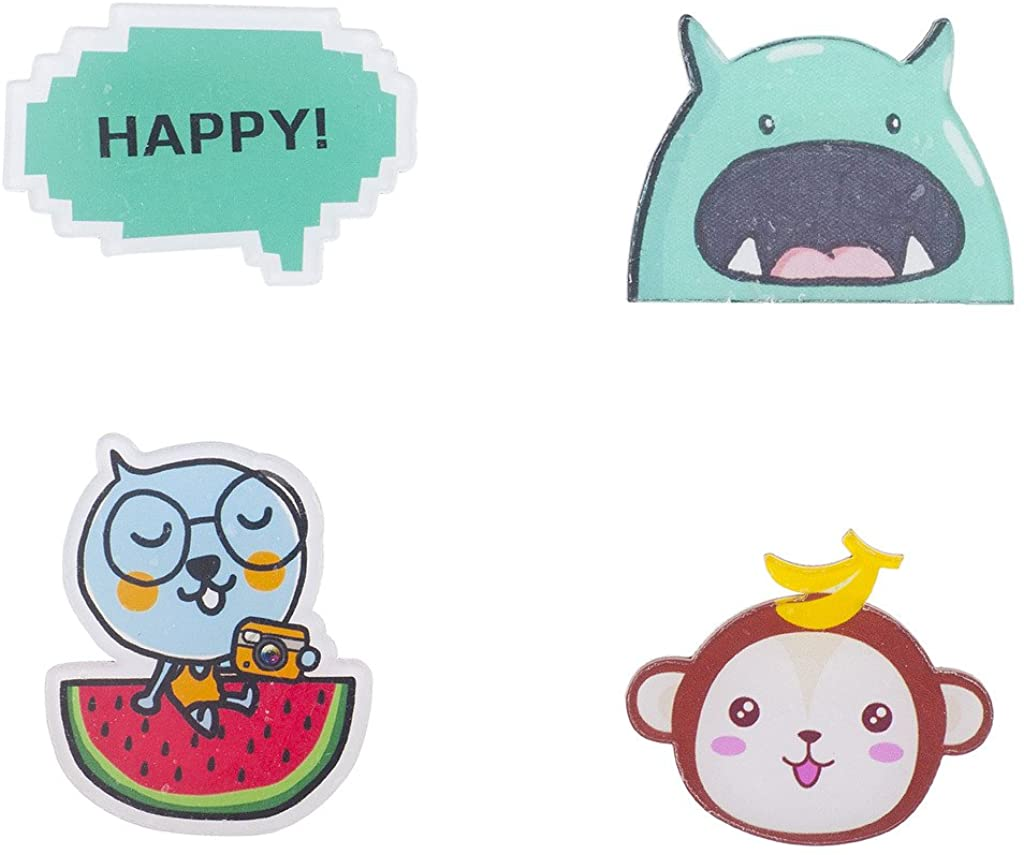 Lux Accessories Kitschy Assorted Characters and Happy Pin Set (4pc)