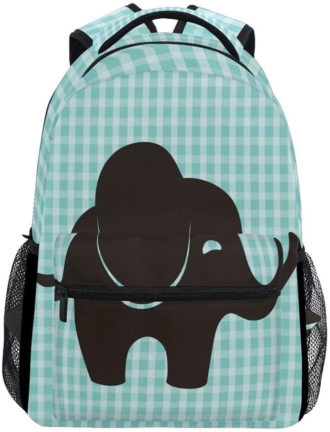 ALAZA Little Cute Elephant with Plaid Durable Backpack Book College School Travel Backbag Shoulder Bag for Women Girls Men Boys