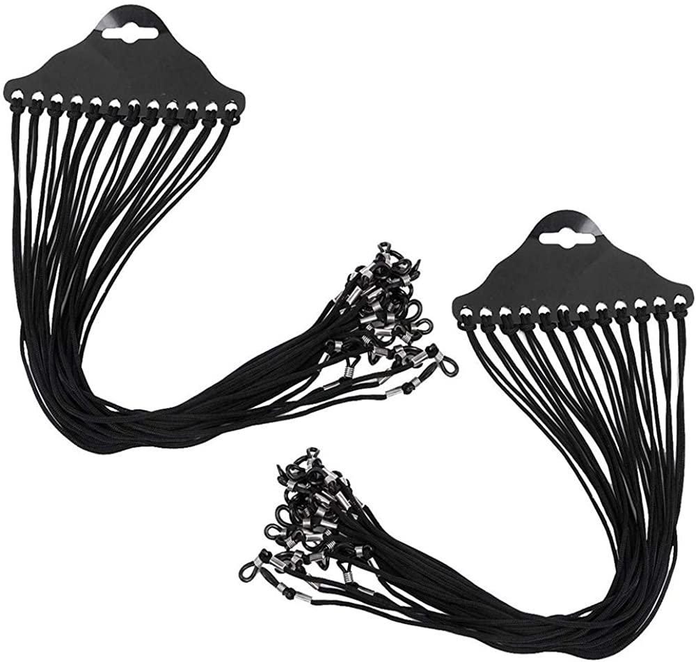 KMDJG 24 PCS Nylon Black Glasses Cord,Eyewear Chain Glasses Strap Spectacle Frame Holder Lanyard Sunglasses Eyewear Rope Neck String Black, Medium