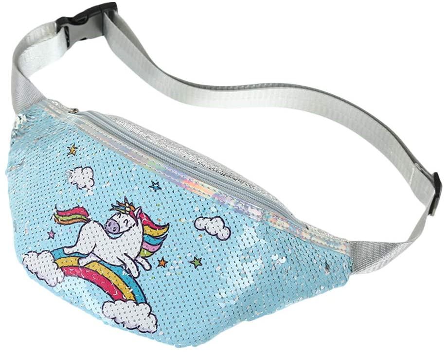 Fanny Packs Unicorn Sequin Waist Bag Glitter Cartoon Chest Pouch for Women Girl (Sky Blue)