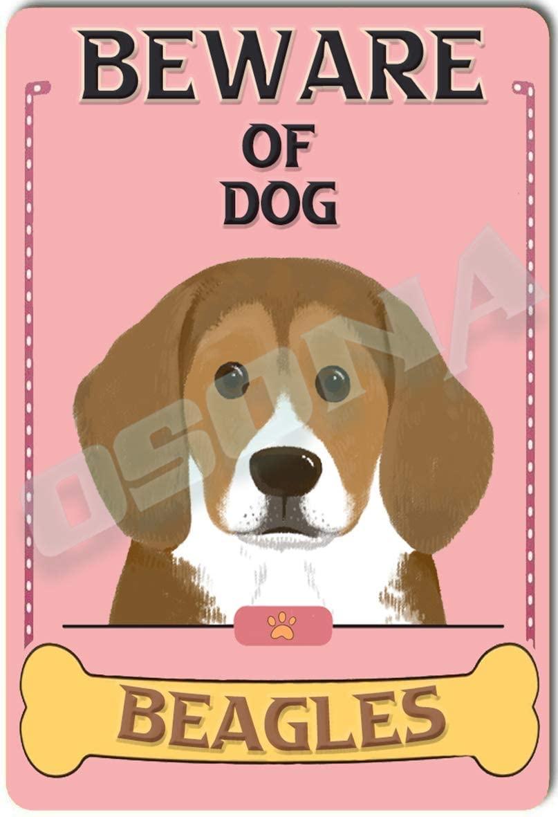 OSONA Beware of Dog Beagles Retro Nostalgic Traditional Rust Color Tin Logo Advertising Striking Wall Decoration Gift