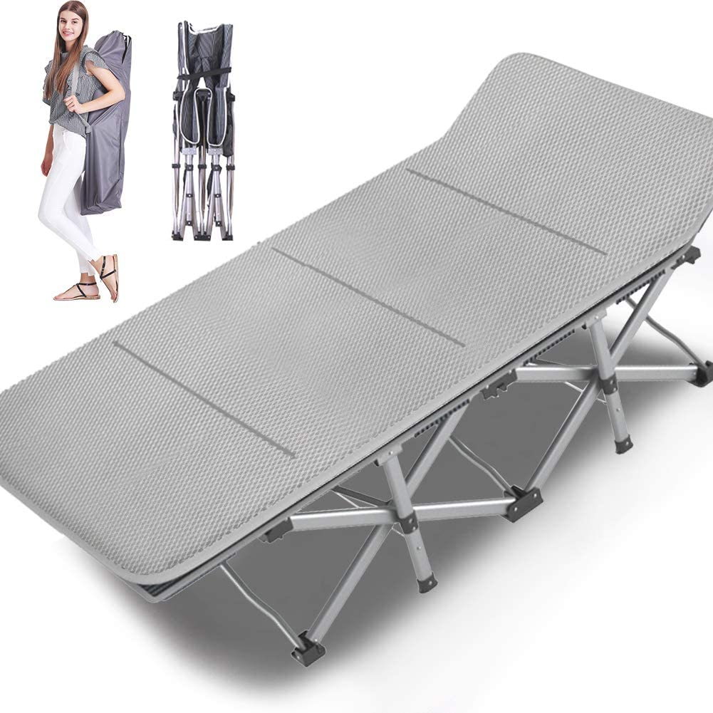 NAIZEA Folding Cot Camping Cot, Folding Camping Bed Outdoor Portable Military Cot, Double Layer Oxford Strong Heavy Duty Wide Sleeping Cots with Carry Bag for Indoor & Outdoor Use