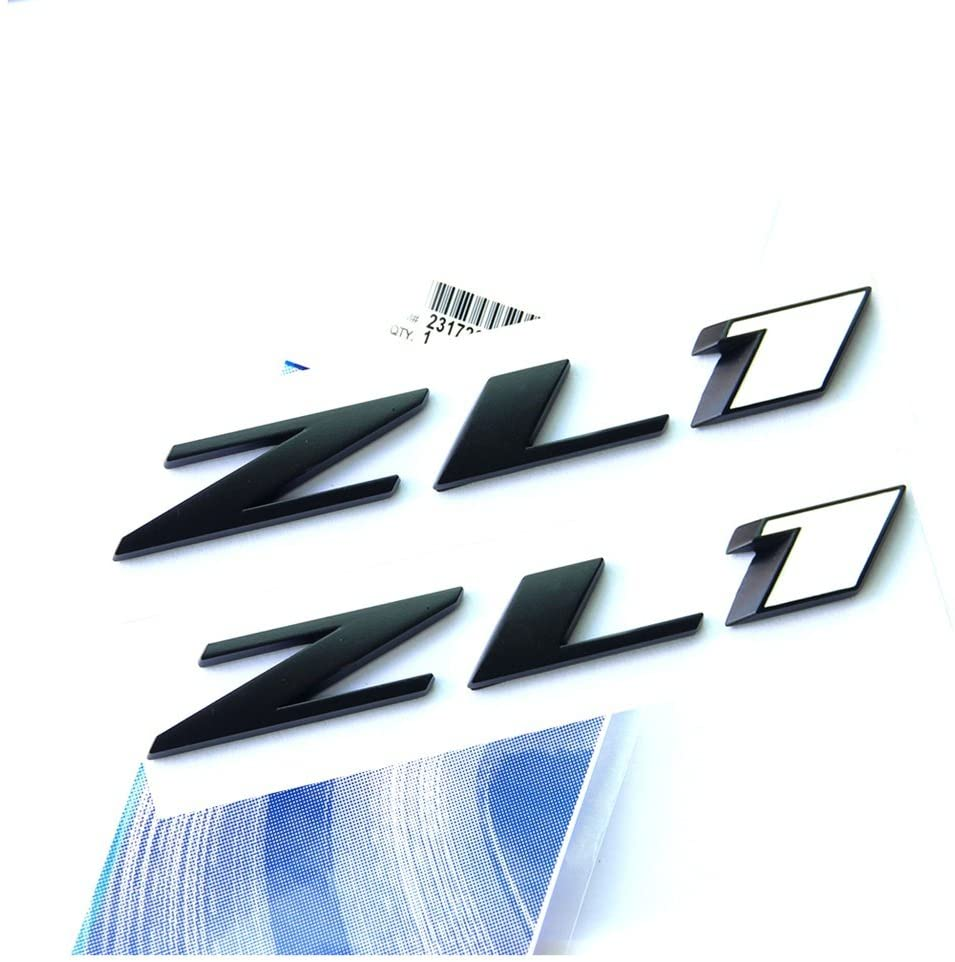 Yoaoo 2x OEM Black Zl1 Emblem Badge Letter Rear Side Zl1 Door Replacement for Camaro Ss Rs Matte 2 Black White