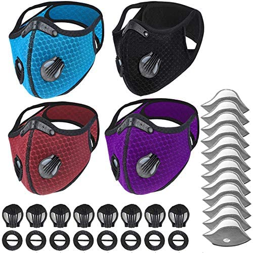Dulzod Dust Masks Veil Reusable Carbon Activated Filters Black Cloth Face mask Carbon Filter face mask