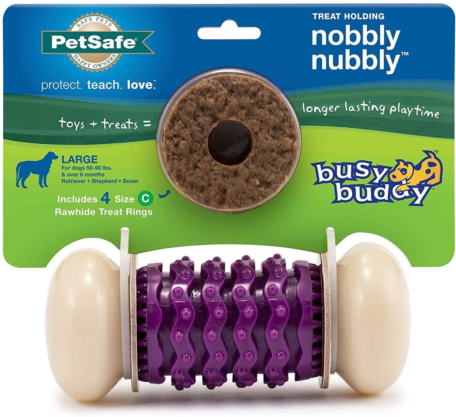 PetSafe Busy Buddy Nobbly Nubbly Treat Holding Dog Toy – Strong Chewers – Extra Small, Small, Medium, Large
