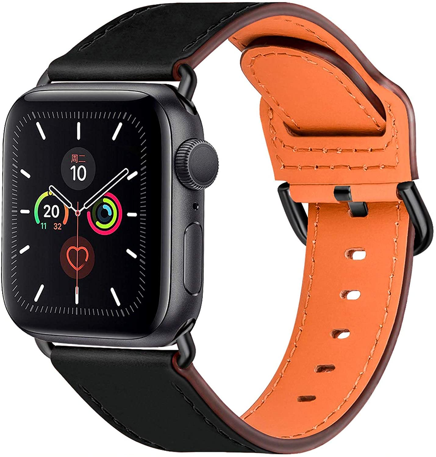 Leather Band Compatible for Apple Watch Bands 38mm 40mm 42mm 44mm, Top Genuine Leather Replacement Smart Watch Strap for iWatch Series 6 5 4 3 2 1 SE for Men Women (Black/Black 38mm 40mm)