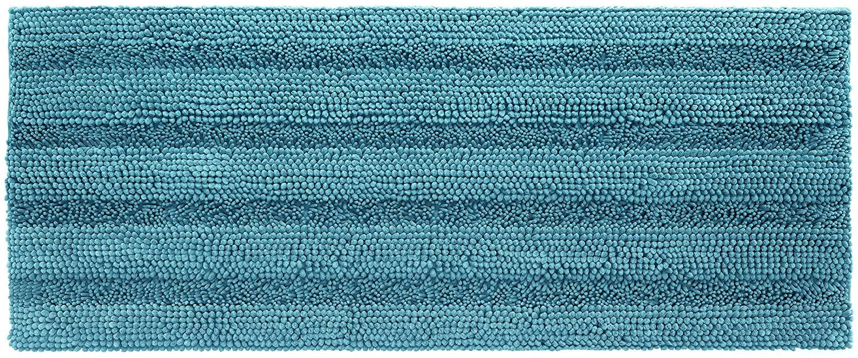 Shaggy Chenille Bath Mat, Soft and Absorbent Non Slip Bathroom Rug, Plush Carpet Mats for Bathtub and Shower, Machine Washable, 24 x 60 Inch, Teal Blue