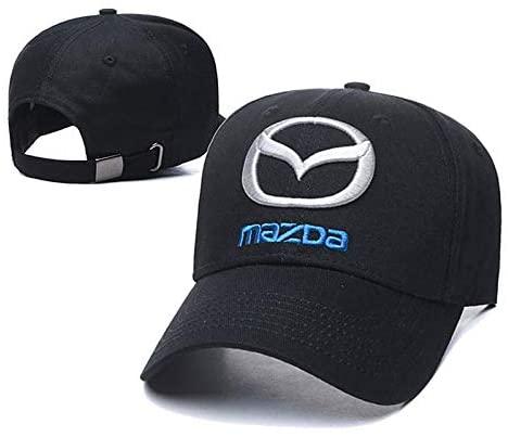 Westion Car Logo Embroidered Black Color Adjustable Baseball Caps for Men and Women Hat Travel Cap Car Racing Motor Hat (fit Mazda)