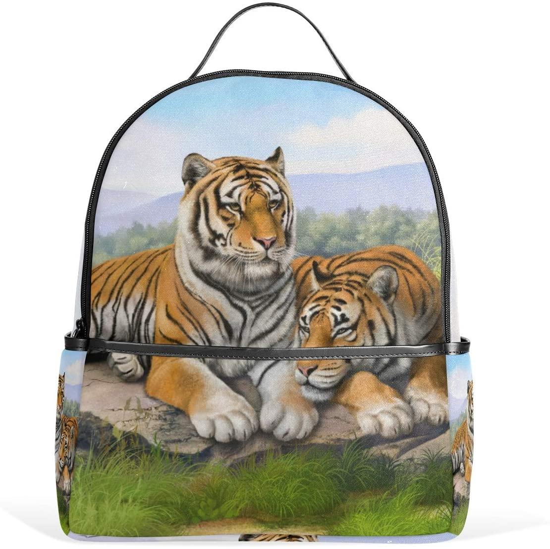 Tiger Landscape Backpack Bookbag Shoulder Bag For Boys Girls Kids Travel Daypacks