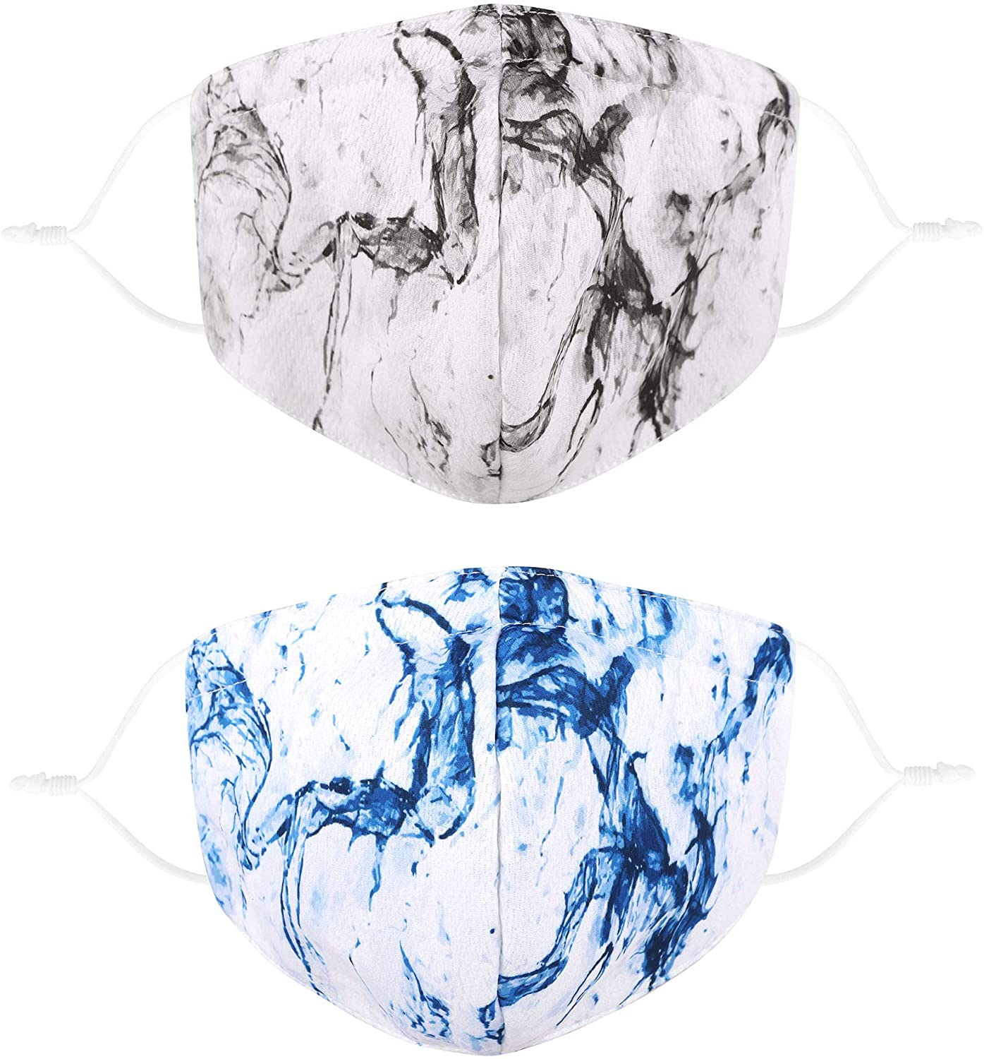 2 Pack Camo Print Face Scarf Bandanas Reusable Camouflage Cloth Face Madks for Adult, Marble Blue/Black